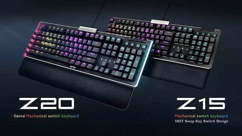 Nuevos teclados Z15 y Z20 de EVGA con distribución de teclas en español ¡ya están disponibles!