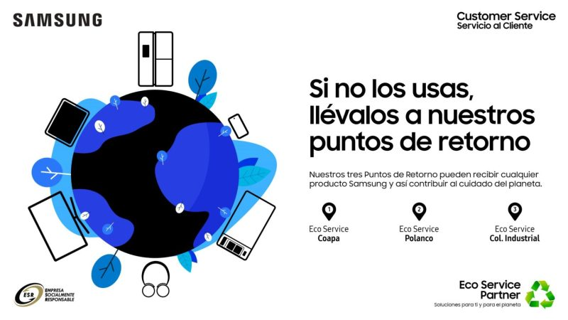 Eco Service, puntos de retorno para recolectar residuos electrónicos de productos Samsung