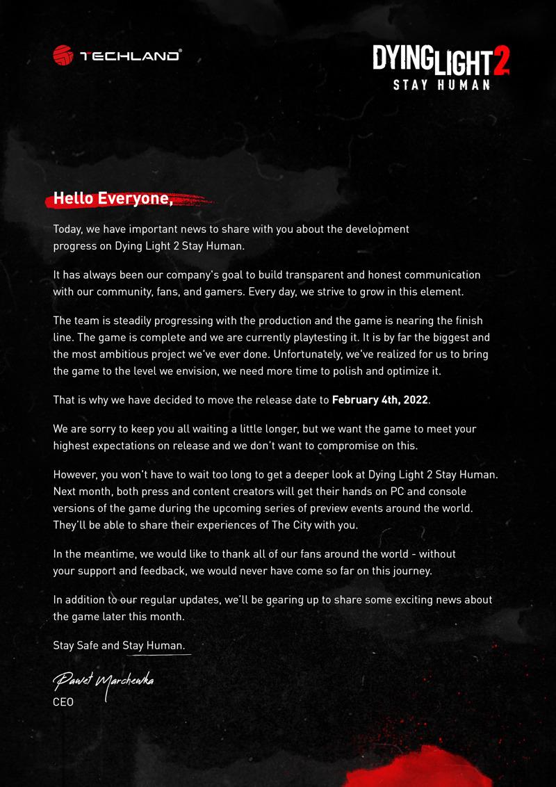 Actualización de la fecha de lanzamiento de Dying Light 2 Stay Human - declaracion-completa-fecha-de-lanzamiento-dying-light-2-stay-human