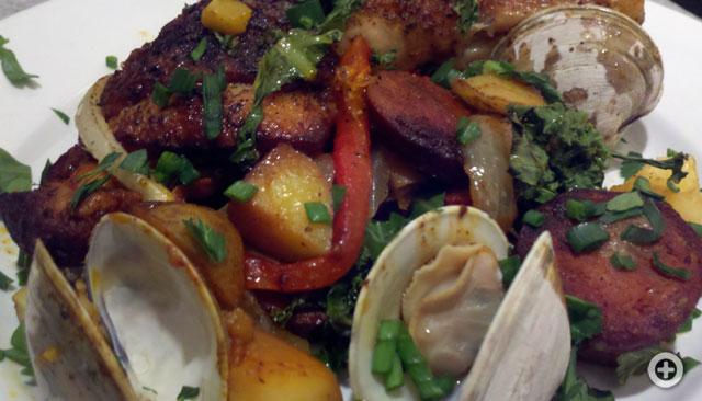 Portuguese Chicken, chorizo and clams
