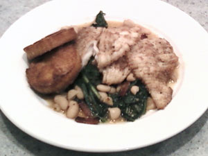 Skate Wing, Sautéed Dandelion Greens with White Bean and Fried Polenta Cakes