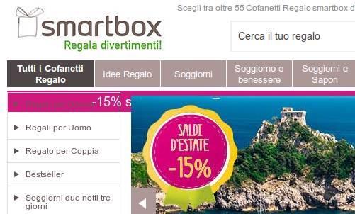Su Smartbox sconto 15 su tutti pacchetti soggiorno