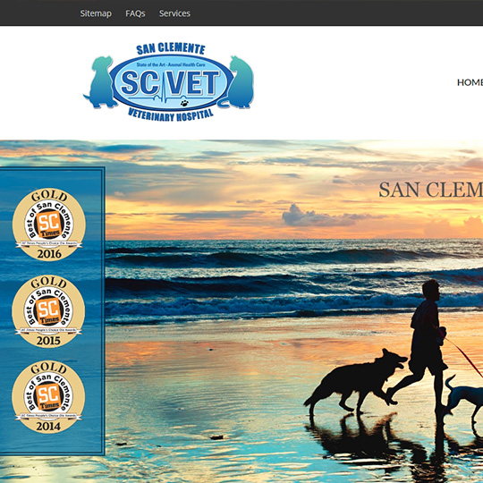 San Clemente Veterinary Hospital website by Web & Vincent