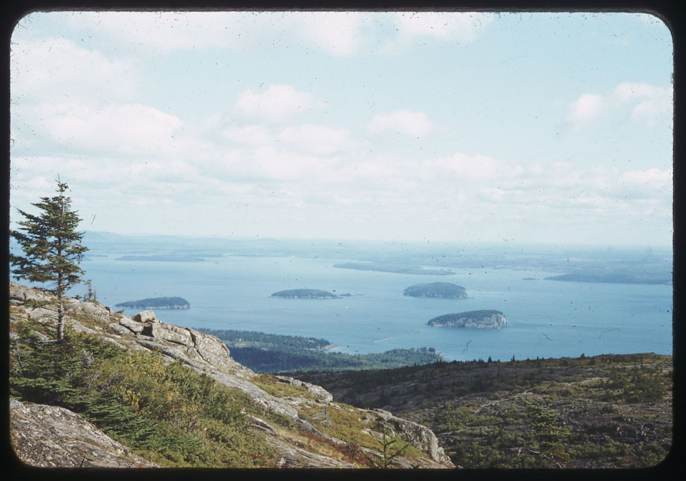 Islands off east coast of Mt. Desert Island from top of Cadillac Mtn., Bar Harbor, Maine