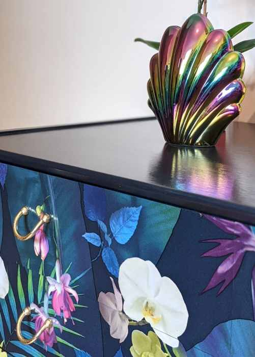 Carmen, top surface detail with découpaged drawers