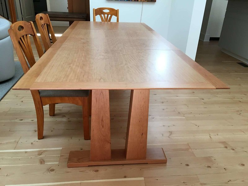 cherry trestle table with