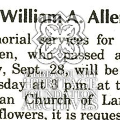 Allen, William A. Obituary