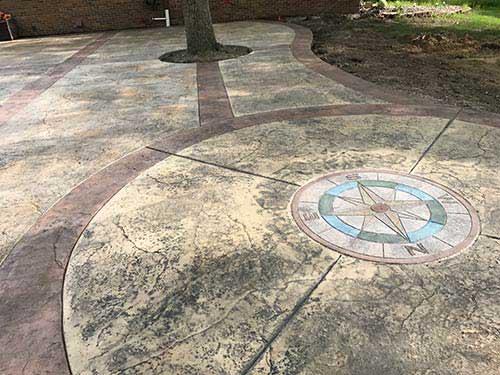 Stamped Compass Decorative Concrete Patio Webb Signature Concrete