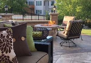 Residential Stamped Concrete Patio and Fireplace