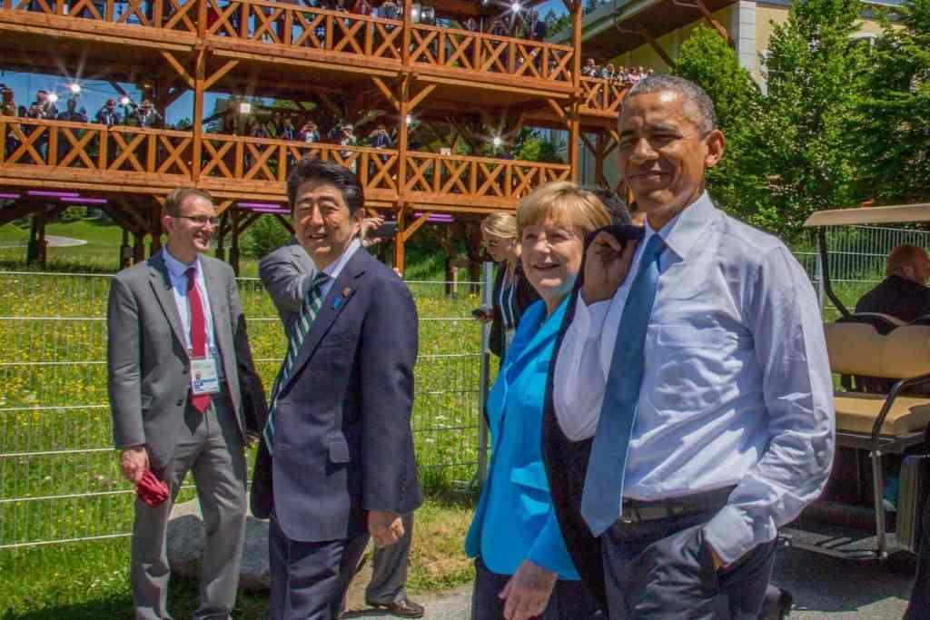 Präsident Abe, Kanzlerin Merkel und US Präsident Obama