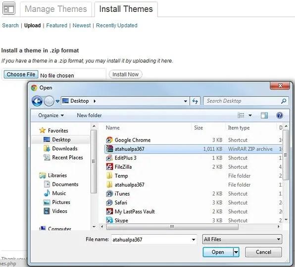 Install Themes Option