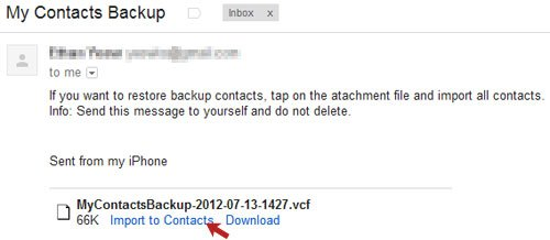 My Contacts Backup Email