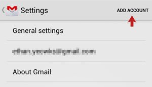 Settings Screen with Add Account