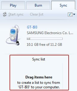 Sync list area