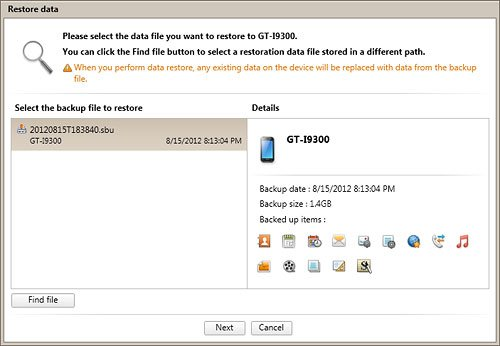 Select Backup File