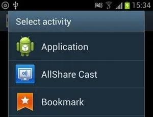 Select Activity Screen