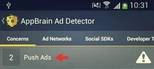push ads option