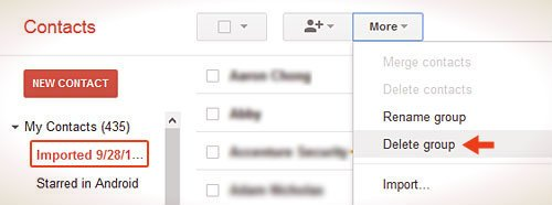 gmail contacts delete group option