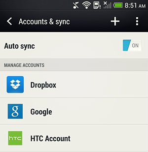 account and sync screen