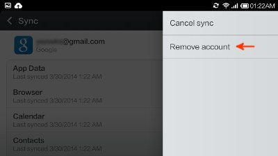 google sync screen