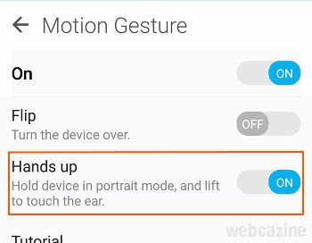 zenfone hands up feature