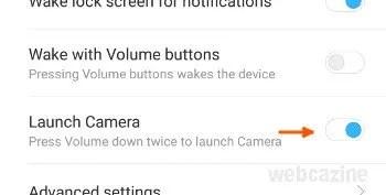miui launch camera option