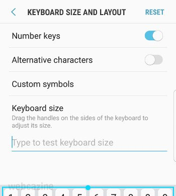 galaxys8 keyboard number keys