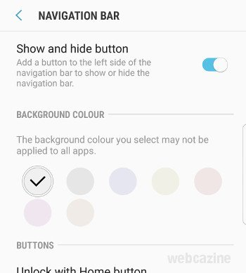 galaxys8 show and hide button