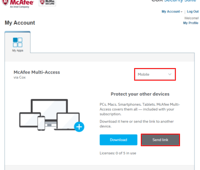 From The Mcafee My Account Page Select Mobile From The Drop Down Then Click Send Link