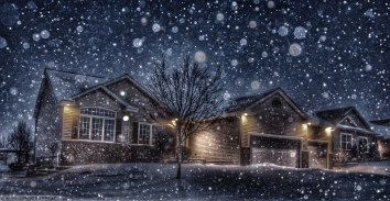 It's fun to put your home in a snow globe by taking an evening shot during snowfall and turning on the flash.