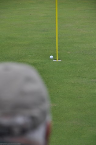 Gary Player's tee shot as it falls into the cup