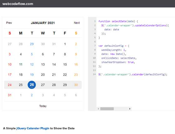 Simple-jQuery-Calander-Plugin