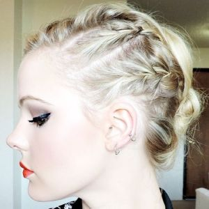 cool braided hairstyle for medium hair