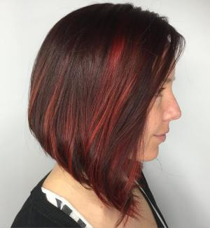 Brunette Bob With Red Highlights