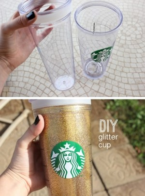 35 Easy DIY Gift Ideas That Everyone Will Love -- DIY glitter cup! So fun and easy.