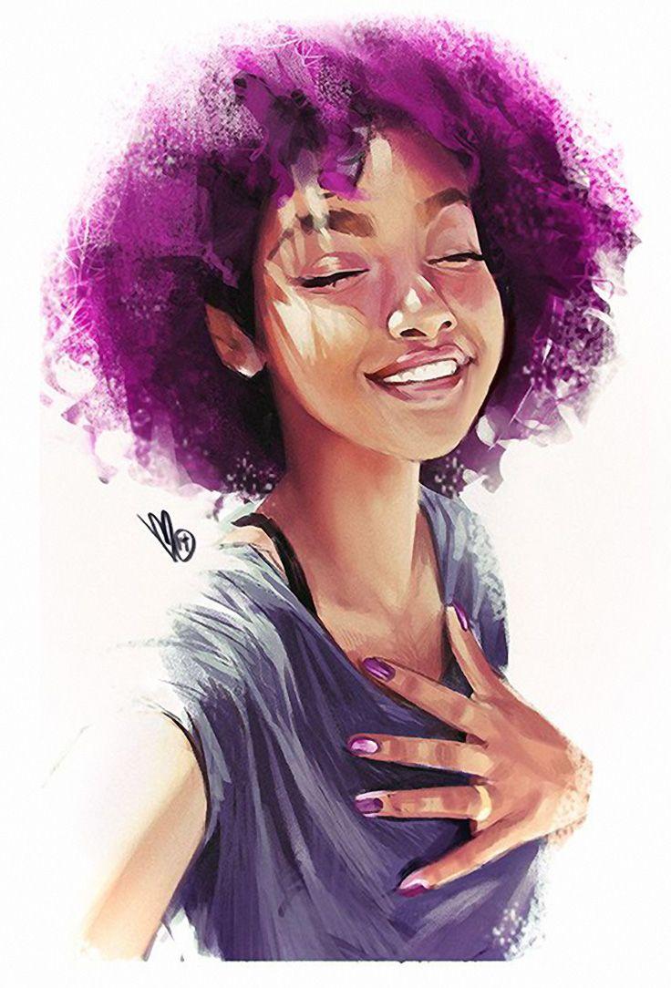 Artist: Mel Milton {contemporary figurative character illustrator beautiful female purple #naturalhair afr