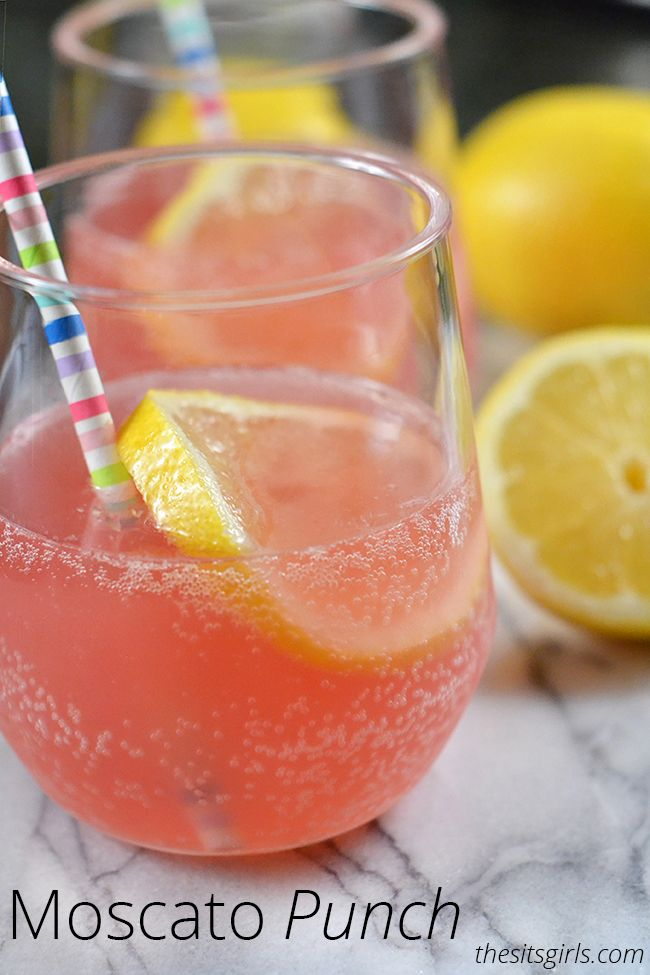 Pink Moscato Wine Punch | Try this recipe for your next brunch. It is perfect for entertaining. Delicious