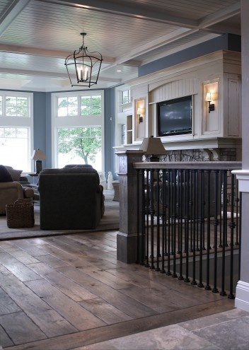 LOVE the way the hardwood meets the tile!
