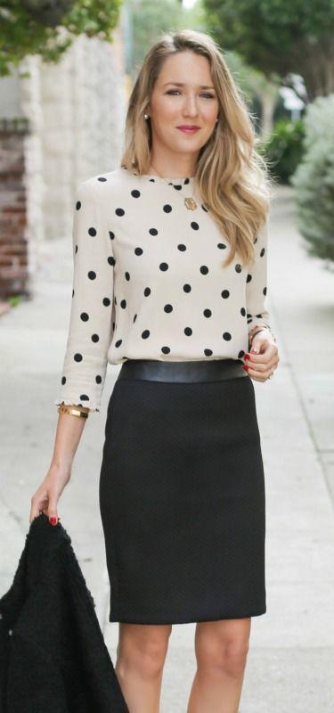 chevron textured black pencil skirt with leather waistband, boucle textured jacket, kate spade deco polka