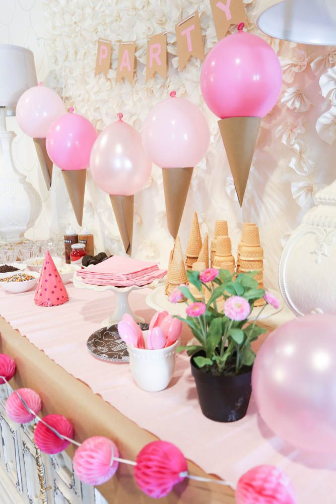 Pink Ice Cream Party Idea – Love this cute set up! Those ice cream cone balloons are awesome! – www.classy