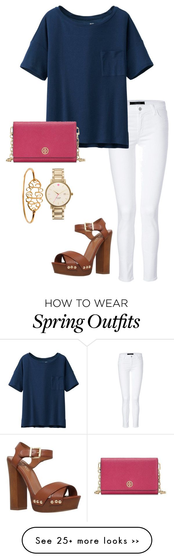 """last of spring outfits"" by sarinaalily on Polyvore featuring J Brand, Uniqlo, Tory Burch, Kate Spade and"