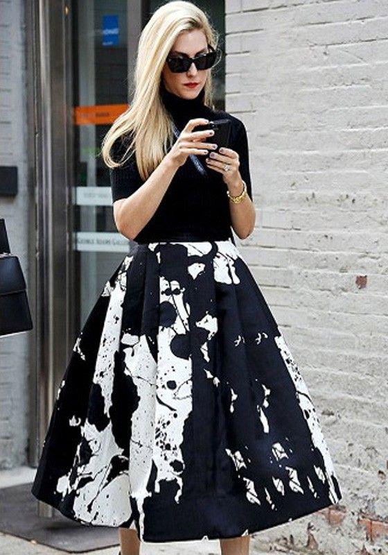 Black Floral Print A Type High Waist Skirt