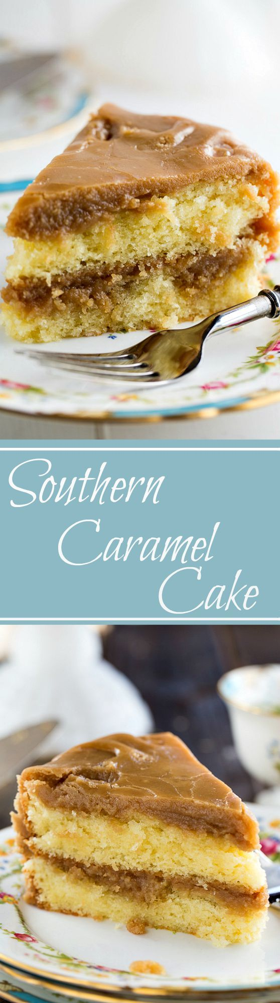 Southern Caramel Cake – moist, vanilla cake with lots of ultra-sweet caramel icing.