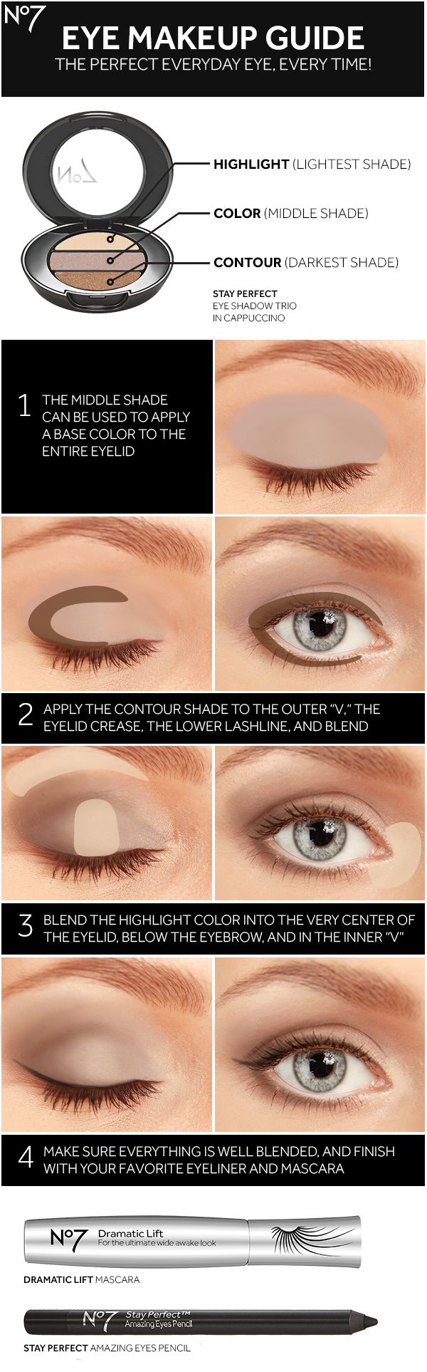 Sharpen your eye makeup skills with No7 eye shadow, mascara, eyeliner and this how-to guide for a brighter
