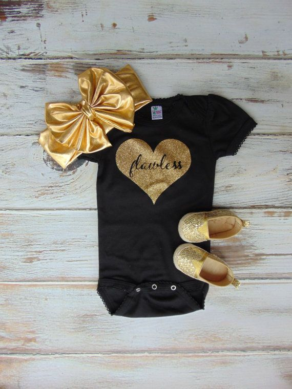 Flawless Gold Glitter Heart Bodysuit – Gold Glitter Newborn, Infant, Toddler Shirt – One Piece Outfit – An