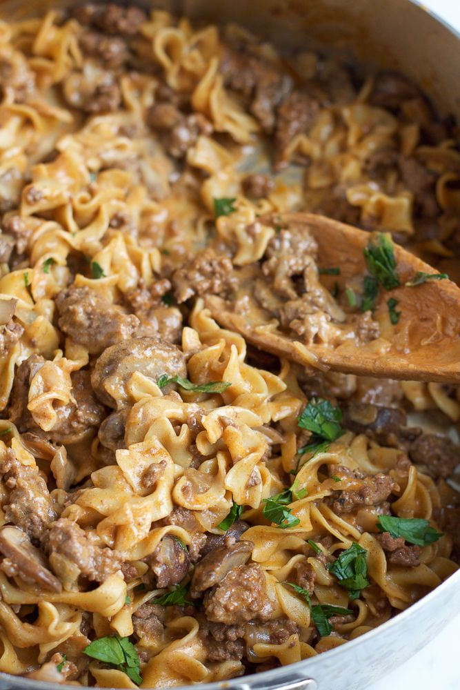 Quick, easy and delicious One Pot Beef Stroganoff!! Perfect for a weeknight meal and will have your family