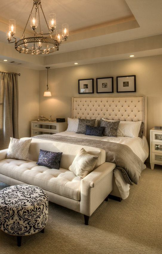 Create a daring aesthetic in your master bedroom with the use of different lighting fixtures for each part