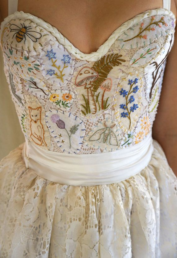 Meadow Bustier Wedding Gown or Formal Dress… boho whimsical woodland country vintage prom formal hand em