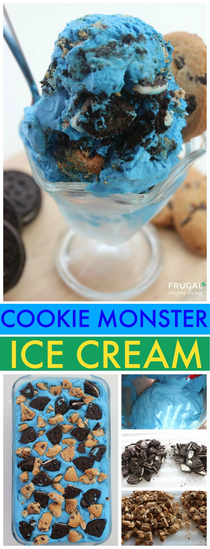 Easy Cookie Monster Ice Cream – Sesame Street Party Idea or for any cookie lover, this no churn ice cream
