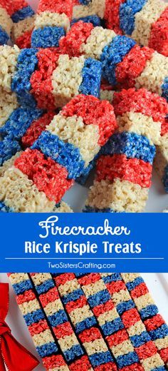 Our colorful and patriotic Firecracker Krispie Treats are adorable, delicious and make the perfect 4th of